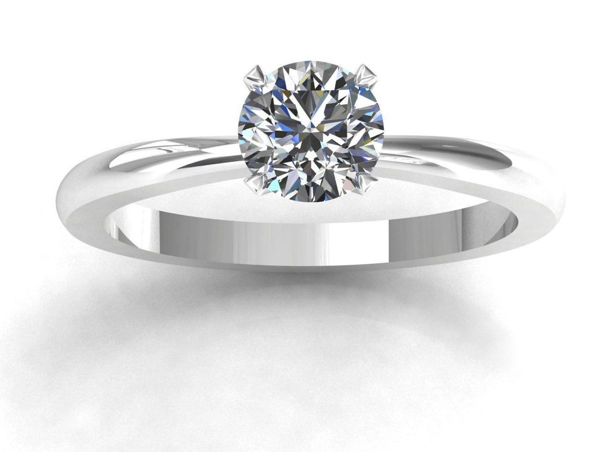 1 Solitaire Parisienne simple en or blanc diamant blanc taille rond serti griffes