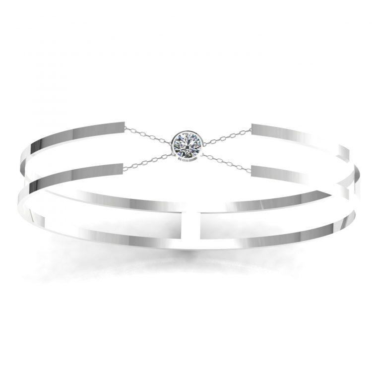Bracelet H or blanc diamant blanc serti clot vue 1