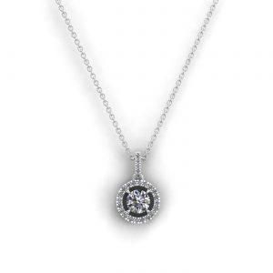 Pendentif Eternity X en or blanc diamant blanc taille rond serti griffes vue 1