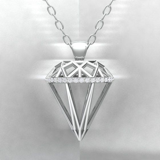 Pendentif ALMAS - Or blanc - Diamant blanc - Light