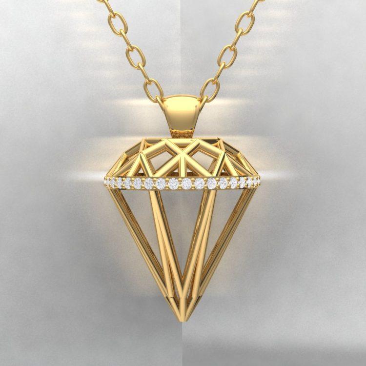 Pendentif ALMAS - Or jaune - Diamant blanc Light
