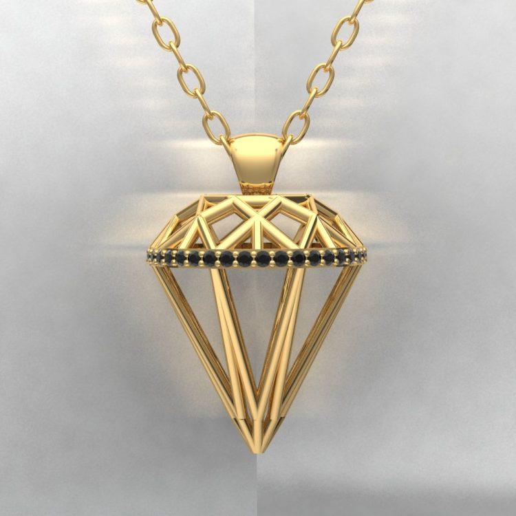 Pendentif ALMAS - Or jaune - Diamant noir - Light