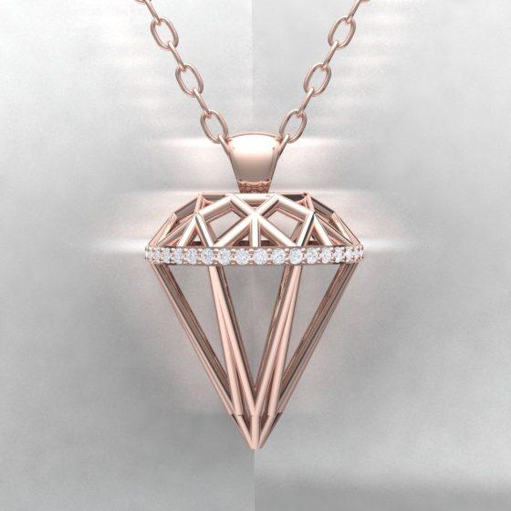 Pendentif ALMAS - Or rouge - Diamant blanc Light