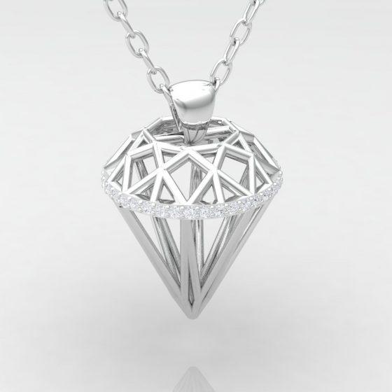 Pendentif DIAMOND - Or blanc - Diamant blanc