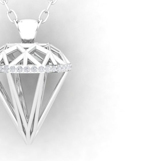 Pendentif ALMAS - Or blanc - Diamant blanc