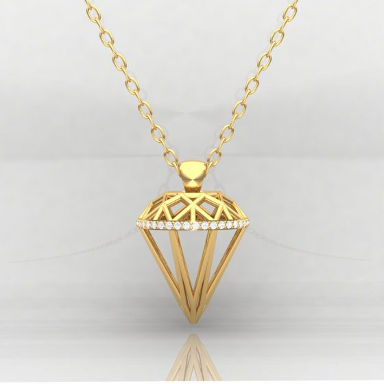Pendentif DIAMOND - Or jaune - Diamant blanc