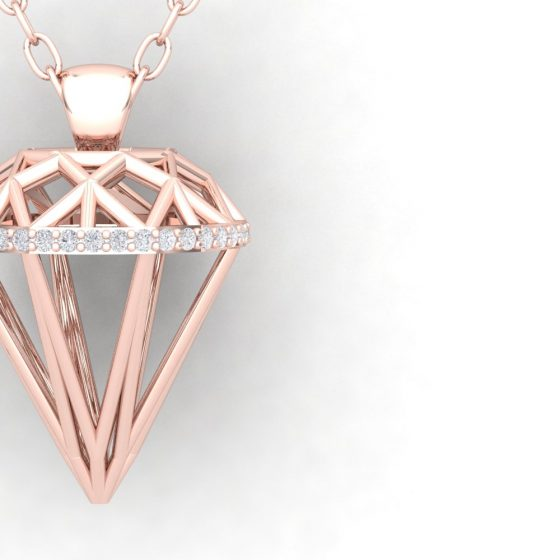 Pendentif DIAMOND - Or rouge - Diamant blanc