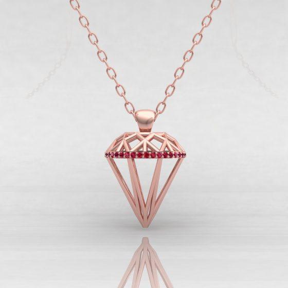 Pendentif DIAMOND - Or rouge - Rubis
